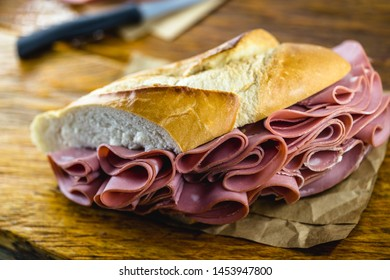 Sandwich with bologna bread. Snack typical of Brazil. Homemade bread snack with bologna. Fast food.
