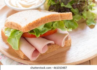 Sandwich bologna sausage.
