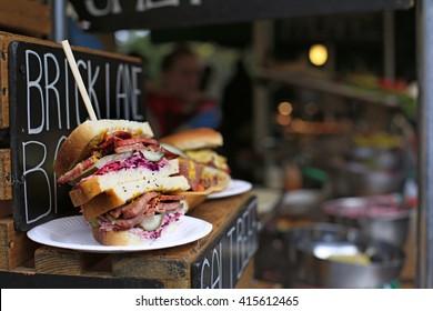 Sandwich in Borough Market gourmet food market. London.