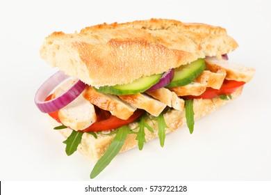 a sandwich with chicken breast