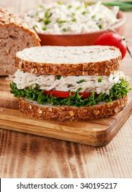 sandwich with chicken salad tomato