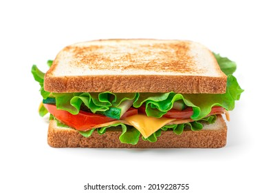 The sandwich club is isolated on a white background. Fast food. Side view, close-up.