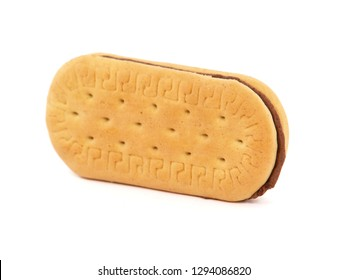 Sandwich cookie or biscuit filled with cocoa cream, isolated on white