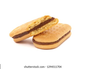 Sandwich cookies or biscuits filled with cocoa cream, isolated on white