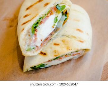 sandwich: cream cheese, tomato, salmon greens