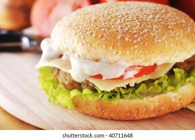 Hamburger Fast Food Make Bun Meat Stock Photo (Edit Now