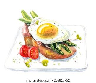 Sandwich with egg, asparagus, ham. Watercolor illustration.