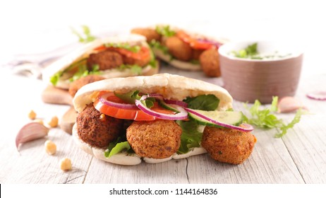 sandwich with falafel and vegetable