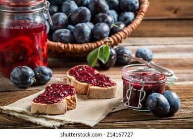 Sandwich with fresh plum jam