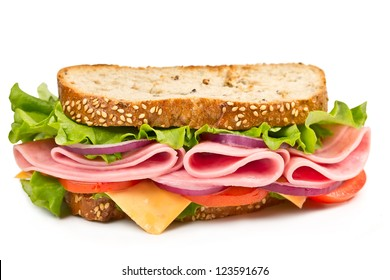 sandwich with ham, cheese and tomato isolated on white background