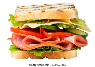 Sandwich with ham, cheese, tomato, lettuce and toasted bread isolated on a white background.