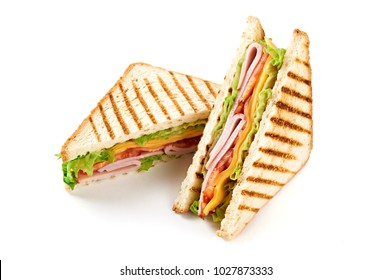 Sandwich with ham, cheese, tomatoes, lettuce, and toasted bread. Above view isolated on white background.