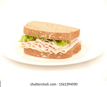 sandwich with ham and lettuce