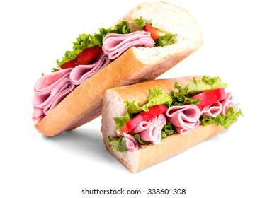 Sandwich with Ham and Tomato, Sliced into Halves - Isolated