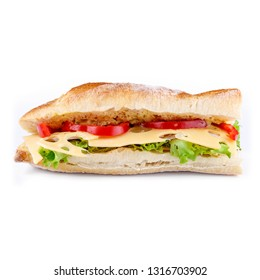 Sandwich with ham, tomatoes, cheese, lettuce and freshly baked bread. Front view isolated on white background.