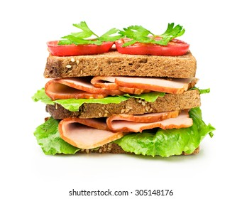 Sandwich with a ham and tomatoes isolated over white