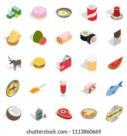 Sandwich icons set. Isometric set of 25 sandwich icons for web isolated on white background