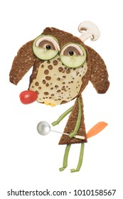 Sandwich idea of a dog in chef hat and spoon