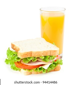 Sandwich and juice on white background