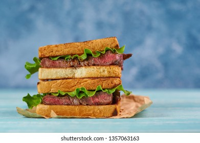 sandwich katsu sando with beef steak. wagyu katsu. japanese cuisine traditional food. Trendy healthy fast food snack