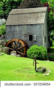 Sandwich, Massachusetts - July 13, 2015:  1637 Dexter's Grist Mill and water wheel is a fully functional facility that continues to produce corn meal which is sold on site