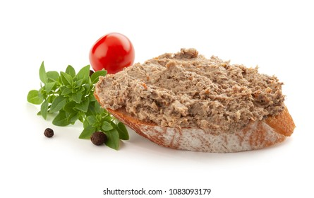 Sandwich with meat pate, tomato, basil and black pepper