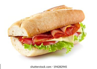 Sandwich with meat and vegetables isolated on a white background