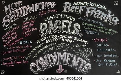 Sandwich menu sign lettering.