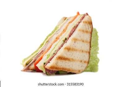 sandwich on a white background big sandwich with bacon and cheese on a white background