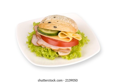sandwich on white plate with path on white background