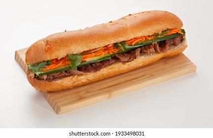 Sandwich on a wooden board