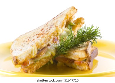 Sandwich or panini with cheese and tomato. decorated with dill.