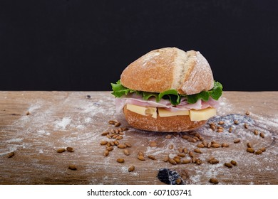 Sandwich panini filled with ham, cheese and salad. Others in my gallery.