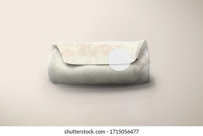 Sandwich paper bag isolated on beige background mockup