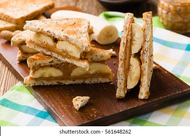 Sandwich with peanut butter and banana
