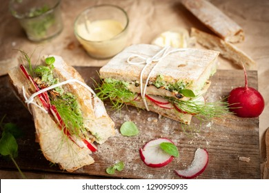 sandwich with a picket, basil and mayonnaise