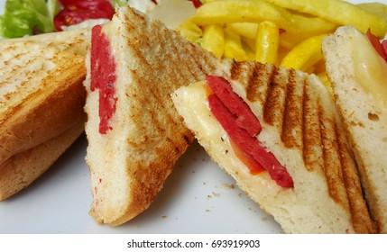 Sandwich and potato chips