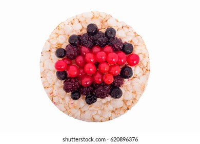 Sandwich of raspberries, blackberries, blueberries on rice bread