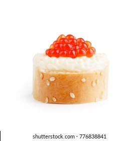 Sandwich with red caviar isolated on white background.