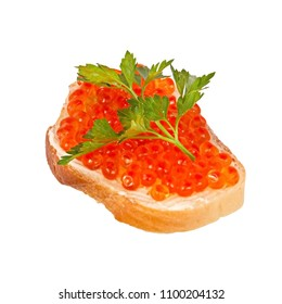 a sandwich with red caviar lies isolated on a white background