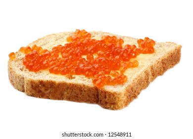 Sandwich red caviar on Brown Sliced Bread with butter over white