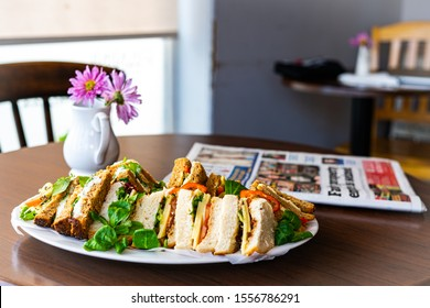 Sandwich With Salad Cafe Lunch British Cheese Newspaper Table Crisps Vegetable Fruit Cake