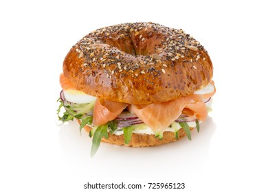 sandwich with salmon onion and egg