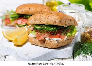 sandwich with salted fish and cream cheese, closeup