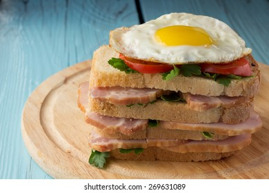 Sandwich with smoked pork, tomato and fried egg horizontal