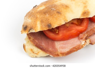 Sandwich somun smoked ham tomato copy space.