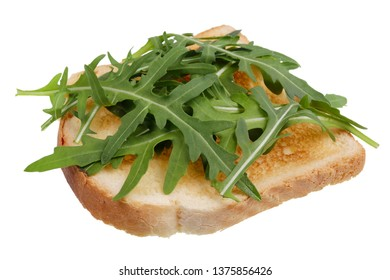 Sandwich toast with fresh arugula vegetable grass. Isolated  on white studio macro