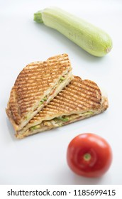 sandwich toast grilled on white background