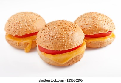 Sandwich with tomato and cheese on the white isolated background