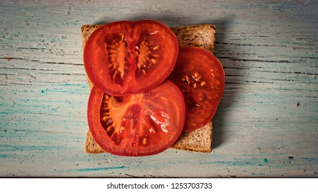 sandwich with tomato, Tost with tomato. Healthy breakfast or snack.